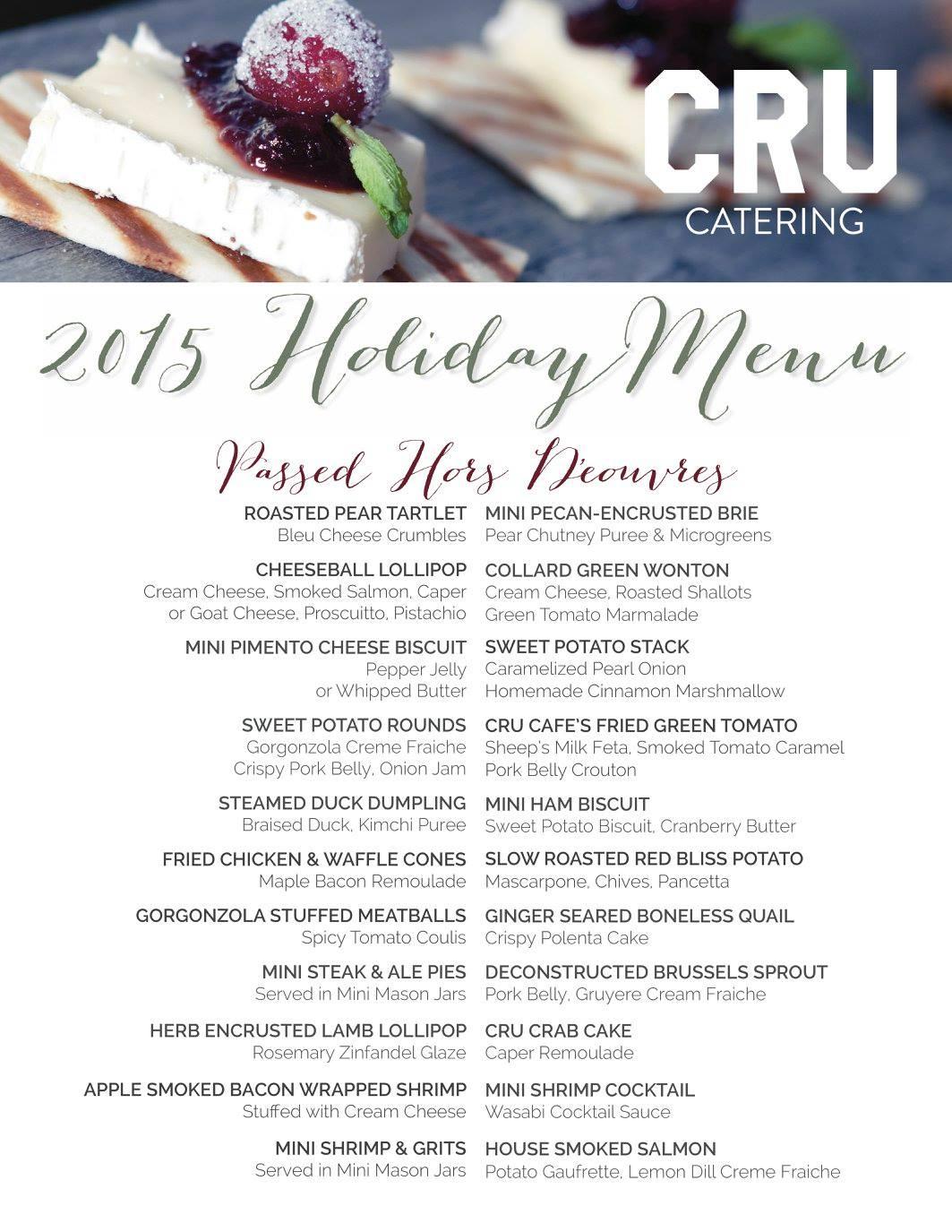 Cru Catering Holiday 2015 Menu Book Now Cru Cafe